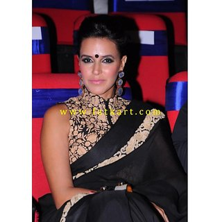 Neha Dhupia Black Faux Georgette Bollywood Saree