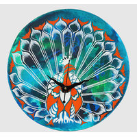 Wall Clock - Round -Multi Color - Marbled Peacock - Wooden Wall Clock - Rangrage