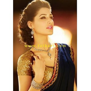 Nargis Fakhri Navy Blue Faux Georgette Bollywood Saree