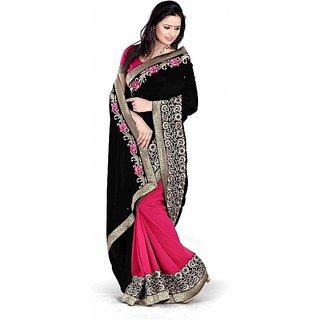 Bollywood Style Black Designer Half And Half Saree