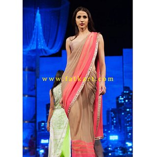 Beige And Pink Georgette Designer Saree