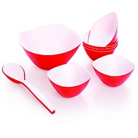 Cello Ceramica Serving Bowl Set (8 Pcs) Red