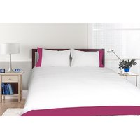 Just Linen Sateen White With Fushia Pink Border Extra Large Size Flat Bedsheet Set