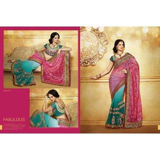 Indian Ethnic Designer Net Saree Pink And Green