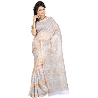 Fabdeal Golden  White Colored Cotton Printed Saree