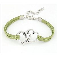 GirlZ! Fashion Vintage rope multi heart bracelet - Green