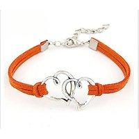 GirlZ! Fashion Vintage rope multi heart bracelet - Orange