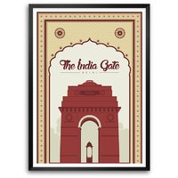 The India Gate , New Delhi Monuments Office Wall Decor Typography Framed Poster
