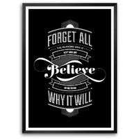 Life Inspiring Rules Of Forget And Believe Quotes Wall Decor Typography Framed