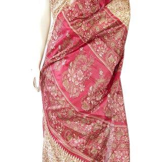 Handicraft Kota Doria Sarees Pink And Beige