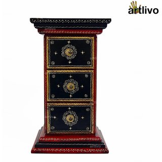 ARTLIVO 3 Drawer Pillar Table Red TA006