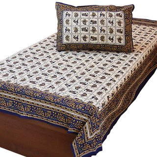 Hand Block Print Cotton Single Bed Sheet Set -405