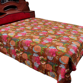 Colorful Floral Kantha Double Gudari Bed Cover 528