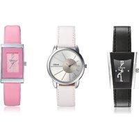 Oleva Ladies Leather Watch Set Of 3 Combo Ovd 169