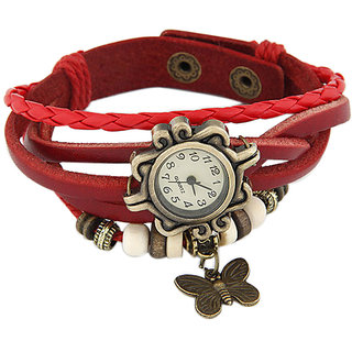Young & Forever Elegant Red Leather Vintage Butterfly Bracelet Watch For Women