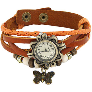 Young & Forever Elegant Orange Leather Vintage Butterfly Bracelet Watch