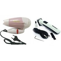 Nova Folding Hair Dryer (850W) & Nova Rechargeable Hair Trimmer Combo - 6358912