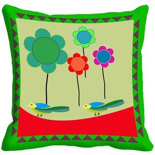 meSleep Flowers Digital Printed Cushion Cover (16x16)