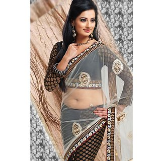Designer Black Off White Net Saree