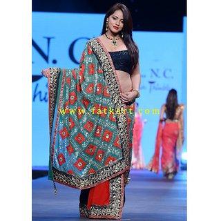 Neetu Chandra Beautiful Tri Color Half And Half Saree