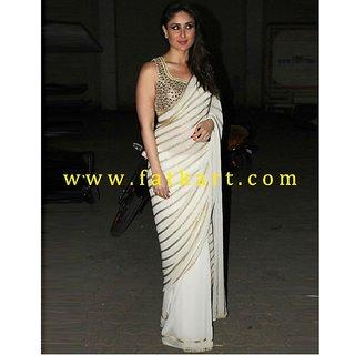 Kareena Kapoor Saree With Golden Zari Stripes