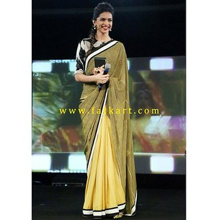 Deepika Padukone Yellow And Green Half And Half Saree