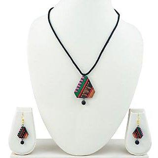 Handmade Terracotta Jewellery Set Multicolor