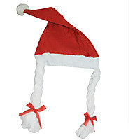 Santa Claus Cap Hat Red  White For Girls Enjoy Christmas Party Free Size