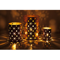 Sutra Decor Gold  Hurricane Pillar Candle Holder/Tea Light Holder - Set Of 3