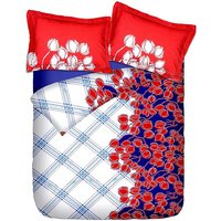 Briana Fine Cotton Printed Double Bed Sheet With 2 Pillow Covers In Red, Blue - 6382462