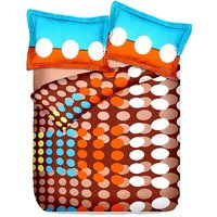 Briana Fine Cotton Printed Double Bed Sheet With 2 Pillow Covers In Orange, Blue