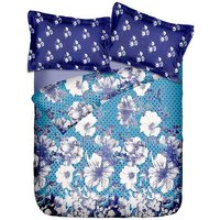 Briana Fine Cotton Printed Double Bed Sheet With 2 Pillow Covers In Aqua, Blue