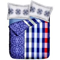 Briana Fine Cotton Printed Double Bed Sheet With 2 Pillow Covers In Red, Blue