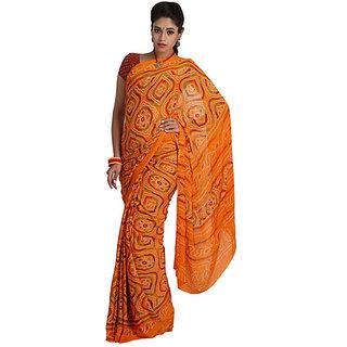 Aanaya sarees/Rajasthani Bandhani Bandhej Chunri/Crape/jaipuri printed sarees