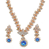 Amarsonns Jewels Golden And Blue Kundan Necklace Set