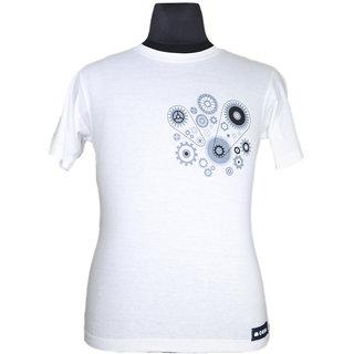 Moksa Men's White Round Neck T-Shirt