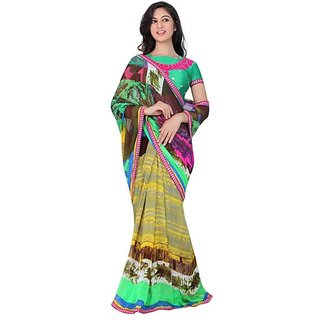 Firstloot Elegant Printed Casual Wear Faux Georgette Saree
