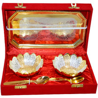 Gold And Silver Plated Brass Bowl Set Of 5 Pcs With Box Packing