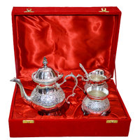 Silver Plated Brass Metal Engraved Bowl Set Of 4 Pcs With Box Packing