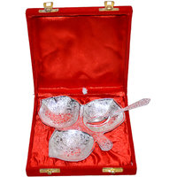 Silver Plated Brass Platter With Spoon Set Of 2 Pcs