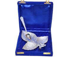 Silver Plated Three Leaves Carved Brass Utility Tray Spoon Set Of 2 Pcs