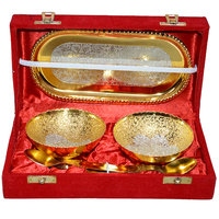 Gold And Silver Elegant Plated Brass Bowl Set Of 5 Pcs With Box Packing