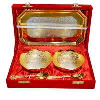 Gold & Silver Alluring Plated Brass Bowl Set Of 5 Pcs With Box Packing