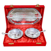 Silver Plated Brass Bowl Set Of 5 Pcs With Box Packing