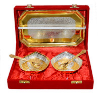Gold & Silver Beautiful Plated Brass Bowl Set Of 5 Pcs With Box Packing