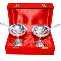 Silver Plated Ice Cream Brass Bowl Set Of 4 Pcs With Box Packing
