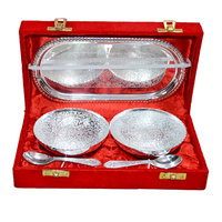 Silver Plated Brass Bowl Set Of 5 Pcs With Box Packing For Gift