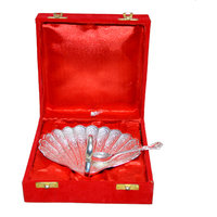 Silver Plated Swan Shaped Brass Spoon Set Of 2 Pcs With Box Packing