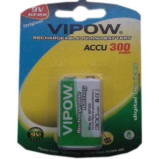 VIPOW 9v Rechargable Battery 300 mAh 1 Pcs
