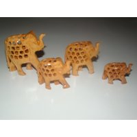 Beautiful Wooden Four Elephant Sculpture Handmade Figurine Home Decor Gift Item